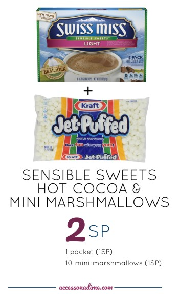 Swiss Miss Sensible Sweets Ligh Hot Cocoa and Mini Marshmallows 2 SP Weight Watchers. accessonadime.com